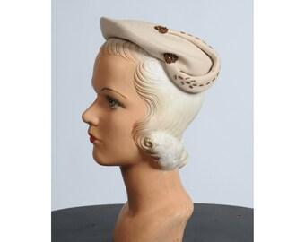 1950s hat/ beaded ivory hat