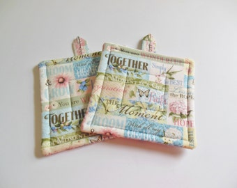 Inspirational Thoughts Pair of Potholders, Set of Two Quilted Potholders
