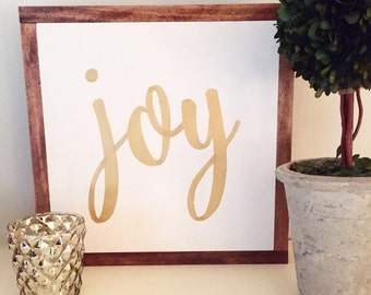 Wood Sign - Handcrafted - JOY - Hand Lettering, Gold, White, Christmas, Holiday