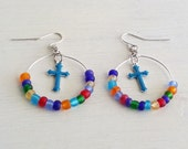 Cross and Beaded Hoop Earrings, Religious Earrings, Faith Jewelry