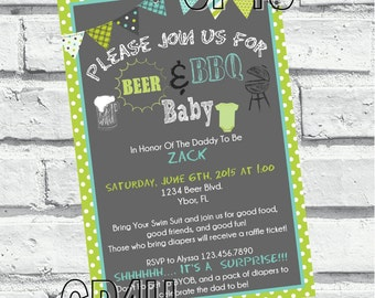 Beer and BBQ Baby Shower Invites