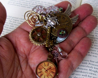 Steampunk Brooch (P518) - Industrial Pin Design - Brass Gears and Clock Face - Dangle Crystal - Wings and Bumble Bee