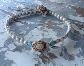 Beaded Anklet Beach Anklet Hippie Anklet Seed Bead Anklet Boho Anklet Turtle Anklet Macrame Anklet