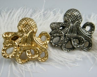 Octopus Knob Pull / Gold or Silver / Nautical Dresser Cabinet Large Pull  Furniture Hardware / Coastal Home / Ocean Decor / Furniture Supply