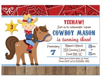 Cowboy Invitation Printable or Printed with FREE SHIPPING - You Pick Hair Color/ Skin Tone - Cowboy on a Horse Collection