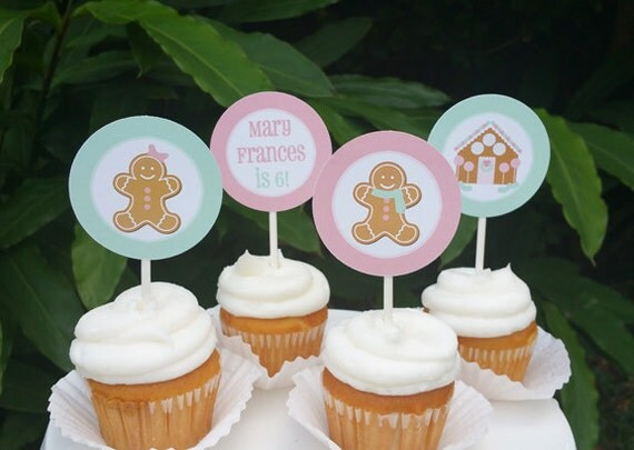 Gingerbread House Girl And Boy Cupcake Toppers Printable Or