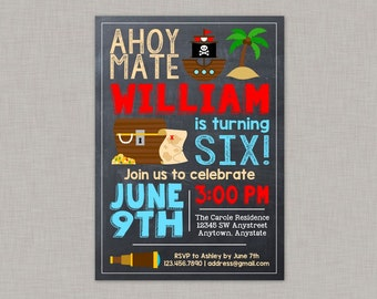 Pirate Invitation, Pirate Party, Pirate Birthday, Pirate Birthday Invitation, Chalkboard