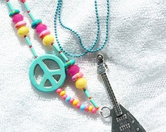 FREE SHIPPING Guitar Beaded Long Neckacle - Colorful - Summer Trends - Gift Ideas - For Her - Music - Peace & Love Beads - Handmade