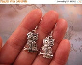 Clearance Owl Earrings - Tibetan Silver Owl Charm, Small, Lightweight - Clearance