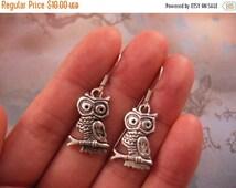 Clearance Owl Earrings - Tibetan Silver Owl Charm, Small, Lightweight - Clearance