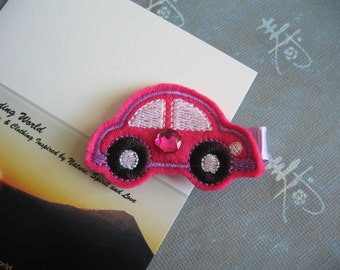 Beetle Car - Embroidered Felt Clippies - Felt Hair Clips - Pink Black Purple White