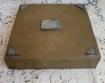 Vintage Brass Box Ornate Lid Storage Jewelry Box Trinket Box Unusual