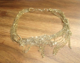vintage necklace multi goldtone chain