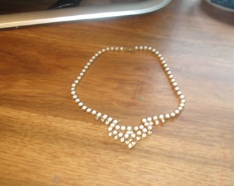 vintage necklace choker goldtone white glass rhinestones