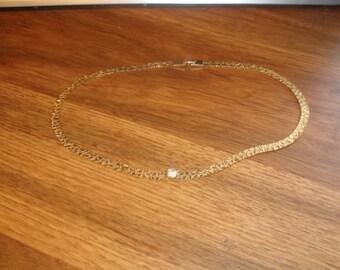 vintage necklace choker brushed shiny goldtone chain rhinestone
