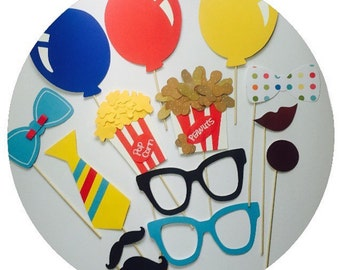 CIRCUS BIRTHDAY PARTY  photo booth props , clown photo booth props for kid parties , carnival photo booth props