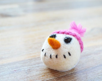 Christmas Snowman Felt Brooch With Hot Pink Crocheted Hat - Needle Felted Winter Xmas Snowman Pin