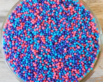 Sprinkles, 3 oz - Purple, Pink, and Blue Non Pareils Mix - For Cupcakes - Ice Cream - Pretzels - Cookies - Cake Pops - Cakes - Abby Cadabby