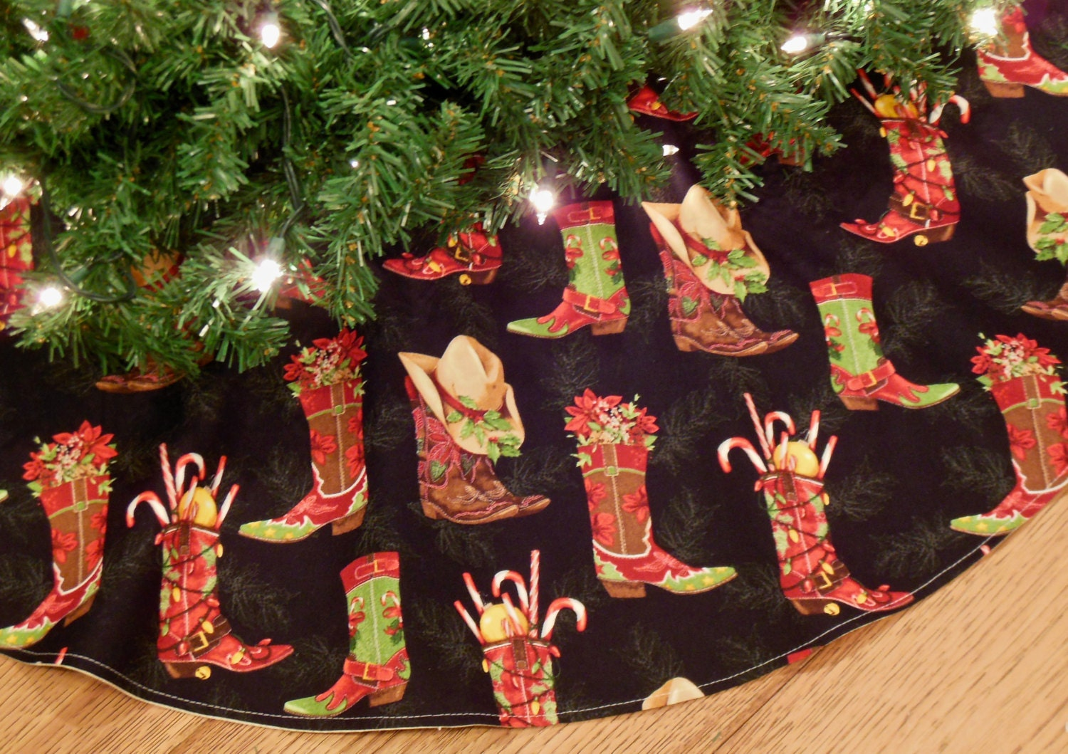 Western Christmas Tree Skirt Tree Skirt With Cowboy Boots