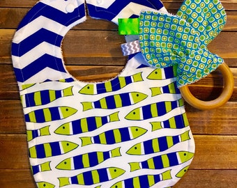 Organic Baby Teething Ring and Bib Set Baby Shower or Birthday Gift