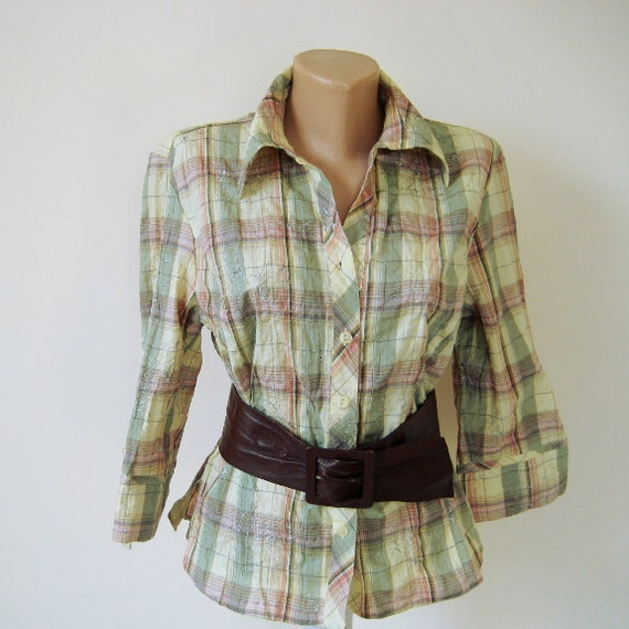 vintage checkered shirt pastel multicolor buttons