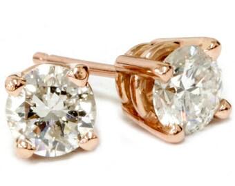 1.00Ct Natural Diamond Studs 14K Rose Gold