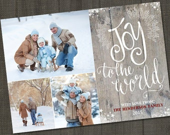 Rustic Joy to the World, Holiday Photo Card, Christmas Photo Cards PRINTABLE, Christmas Photo Card Digital, Christmas Photo Card ID: PC15799