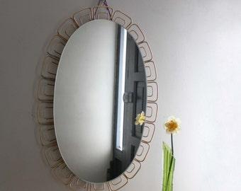 1960s Illuminated Oval Wall Mirror. Large Bathroom Mirror /Light. Golden Filigree Petals. Midcentury Modern