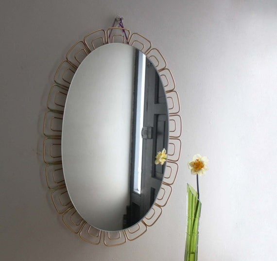 Lighted Bathroom Wall Mirror Large: 1960s Illuminated Oval Wall Mirror. Large Bathroom Mirror