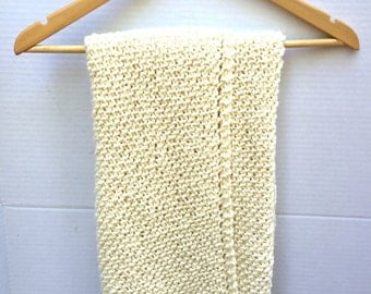 Organic cotton baby blanket, antique ivory, hand knitted