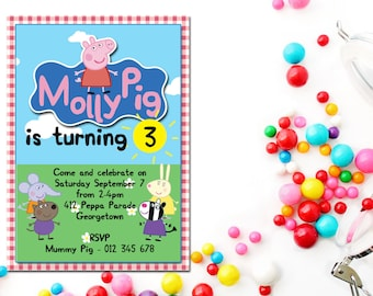 Peppa Pig Printable Party Package - Personalised Invitation, Bag Tag, Banner, Toppers and Welcome Sign set
