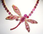 Jean Louis Scherrer Dragonfly Necklace Pink Red Rhinestones