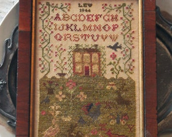 A Country Life : Blackbird Designs counted cross stitch patterns Loose Feathers Abecedarian Series #7 sampler prim hand embroidery
