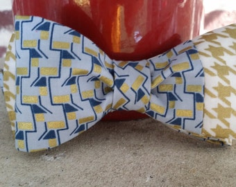 Gold Houndstooth Bow Tie