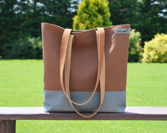 Waterproof Tote bag, grey and camel canvas bag with leather strap, unique gift for college students, unisex macbook carrier