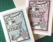 Fly Me To The Moon - Hand Illustration Greetings Card (Blank)