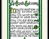 """Authentic Irish Blessing print with Celtic hand lettering and design by artist/calligrapher Jacqueline Shuler  8"""" x 10"""""""