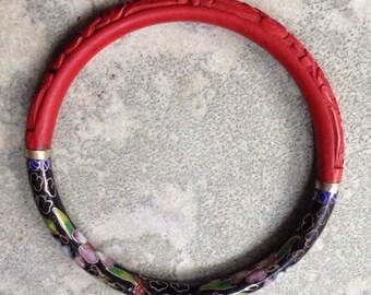 Chinese Cloisonné and Cinnabar Bracelet