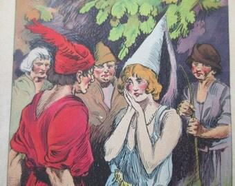 original page - color -1920s book - Robin Hood, pretty maid