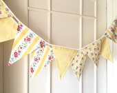 Spring Time Bunting, Fabric Banners, Wedding Bunting, Floral, Yellow Shade - 3 yards