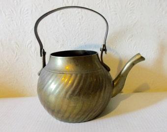 Vintage Brass Tea Kettle Plant Watering Pot