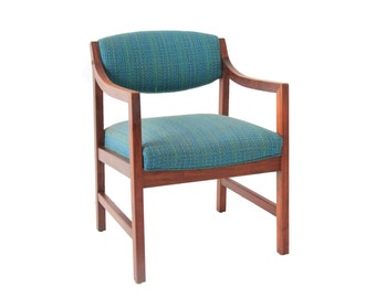 Vintage Mid Century Modern Upholstered Turquoise Side Chair