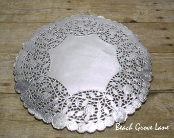 SAMPLE 12 Inch Silver Charger/Doily for Weddings~Silver Bridal Shower Decor~Wedding Invitation Trim~Silver Paper Doily~Wedding Shower Decor