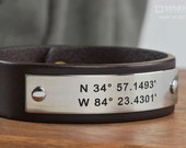 GPS Coordinate Bracelet - Personalized Latitude Longitude Leather Bracelet - Custom GPS Bracelet, Fathers Day, Anniversary Gift For Men