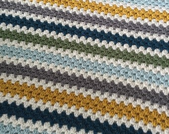 Crochet granny stripe baby afghan - aqua, dark teal, mustard, gray, and ivory striped - crib stroller travel blanket - ready to ship