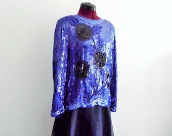 Sale Vintage Sequined embellishment Long Sleeve Evening Top