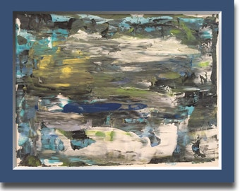 Original abstract art 24x18 inched on heavy art paper. Titled REFLECTIONS
