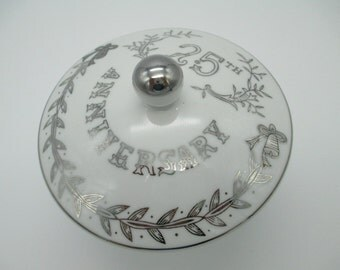 Vintage 25th. Anniversary Candy Dish- Lefton China- Covered Candy Dish-Made In Japan