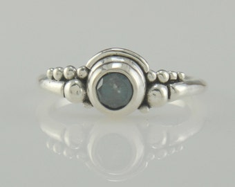 R970-Sterling Silver .54ct Blue Diamond Ring- One of a Kind