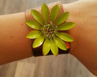 Copper Leather Cuff Bracelet with Large Green Vintage Flower Brooch
